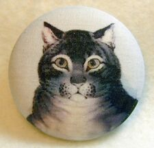 Charming Gray Tabby Cat Fabric Covered Button 1 & 1/2 inch FREE US SHIPPING 244