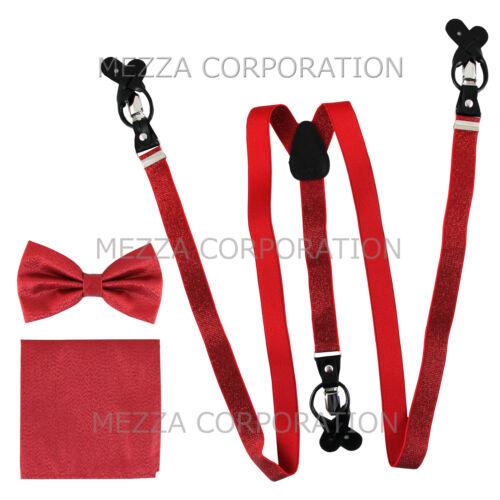 New in box Men/'s Convertible Elastic red glitter Suspender/_Bowtie Hankie