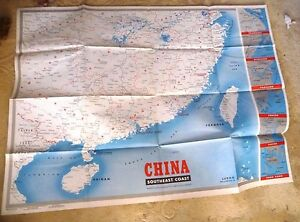 HUGE MAP US ARMY NAVY CHINA HONG KONG CANTON SWATOW SHANGHAI - Shanghai on map with us