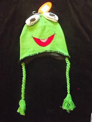 Bnwt Kids Pull On Green Viking Stile Knit / Foderato In Pile Rana Personaggio Hat! Graziosi!- Vendite Economiche 50%