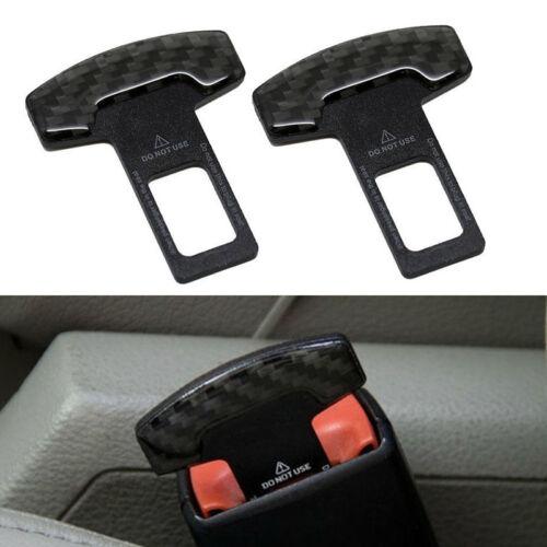 2PCS Universal Carbon Fiber Seat Belt Buckle Car Alarm Stopper Plug Insert Clip