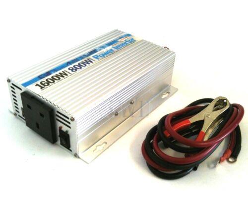 12V 230V UK Mains 800W 1600w peak Power Inverter Converter USB Charger T5 T25 T6