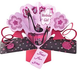 Image Is Loading 3D Pop Up Card Happy Birthday Girl Shoes