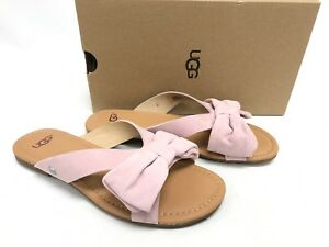 85c1e491b5c40 UGG Australia FONDA Seashell Pink SUEDE BOW SLIDE SANDALS 1019968 ...