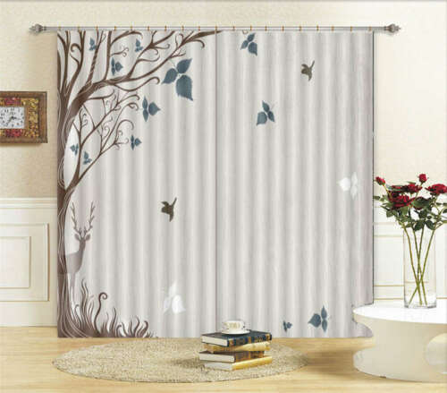 Blue Leaves Deer 3D Curtain Blockout Photo Printing Curtains Drape Fabric Window