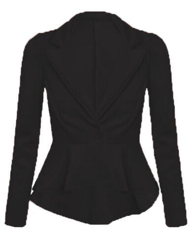 Womens Ladies Blazer Collared One Button Suit Jacket Peplum Slim Fit Coat