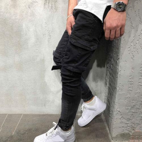 Mens Skinny Work Denim Jeans Slim Fit Casual Long Pants Biker Trousers Bottoms