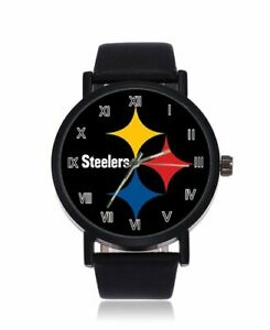 NFL-Pittsburgh-Steelers-Watch-Unisex-Faux-Black-Leather-Strap-Gun-Metal