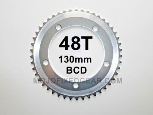 """48T Fixed Gear Chainring SILVER130mm BCD Track Single Speed 1//8/"""""""