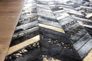 Black-amp-Metallic-Gold-Chevron-Handmade-Leather-Cowhide-Rug