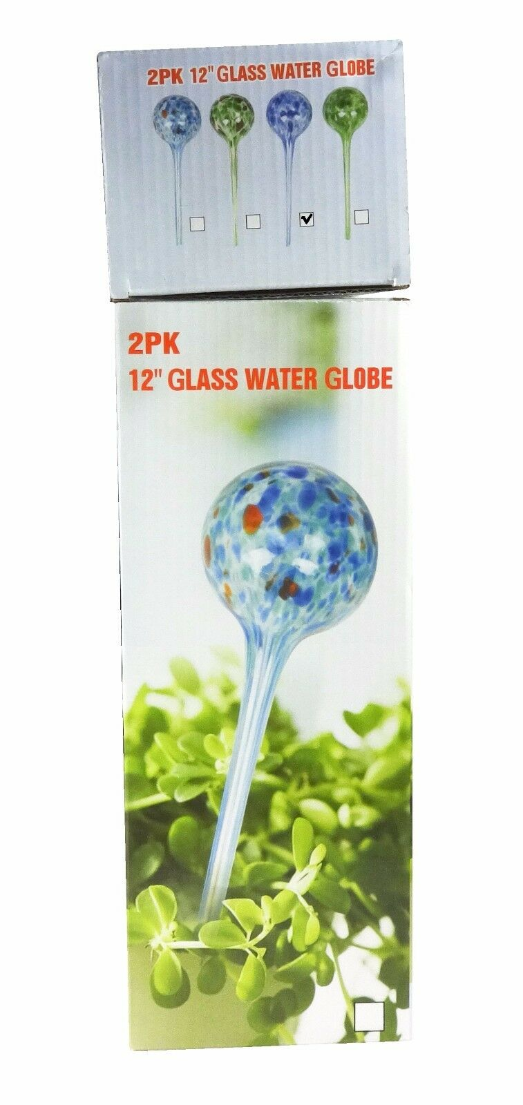 2 Pack of 12 in Aqua Globes (Blue) Glass Bulbs Plant Watering System, Stylish