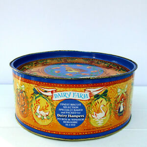 Large-Vintage-Dairy-Hampers-Round-Christmas-Biscuits-Tin-12-Days-of-Christmas