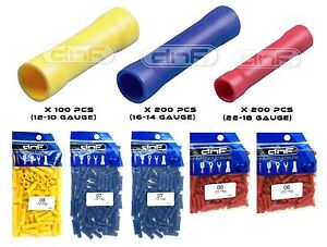 100 200 + B + Y 200 500 PACK VINYL INSULATED BUTT CONNECTORS COMBO 22-10 AWG R