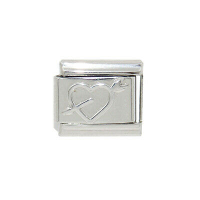 Outline heart Silver Coloured Italian Charm fits 9mm classic Italian charms