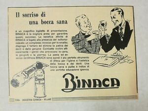 Pubblicita-1949-BINACA-DENTIFRICIO-TOOTHPASTE-advert-publicite-reklame-werbung