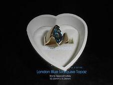"ClassyCustom ""Kabo"" Marquise London Blue Topaz Ring One of a Kind Sz. 4.75 14K ~"