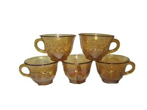Set-5-Antique-Indiana-Glass-Harvest-Carnival-Grape-Leaves-Teacup-PUNCH-CUP