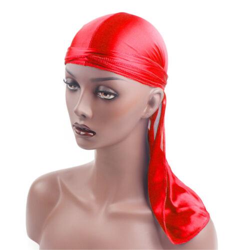 Durag Headwear Headband Pirate Cap Unisex Hat Smooth Silk Nylon Hat Solid Color