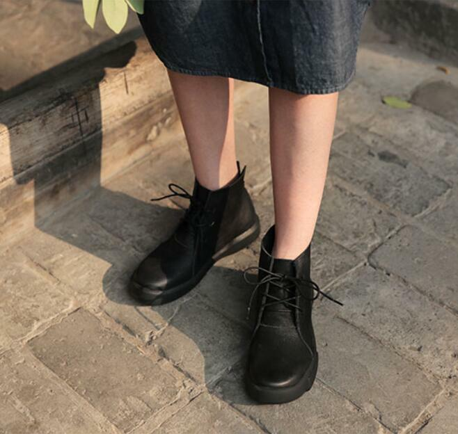 Vintage Cowboy Damenschuhe Lace Up Leder Ankle Stiefel Casual Cowboy Vintage Western Schuhes Luxury U6 711ee9