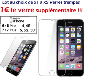 Lot-1-a-5-VERRES-Trempes-vitre-protecteur-protection-ecran-iPhone-4-5-6-6-Plus