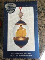 Disney Store 30th Anniversary Snow Globe Ornament Belle Miss Potts March