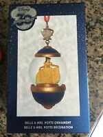 Disney Store 30th Anniversary Snow Globe Ornament Belle Miss Potts March