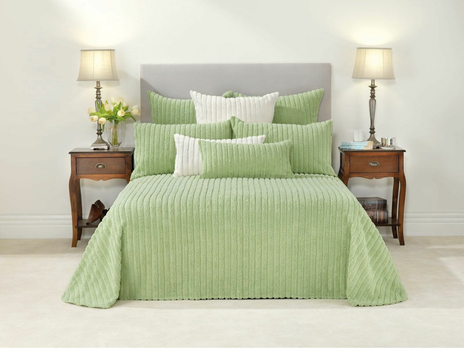 Bianca Chelsea Celadon Cotton Chenille Light verde Bedspread Set