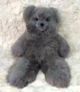 37-034-Gray-Plush-Alpaca-Teddy-Bear-100-Baby-Alpaca-37-Inches-tall-Handmade-Toy