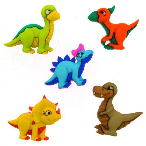 Dress it Up Dino-Mite Bright Boys Embellishment Craft Dinosaur Buttons