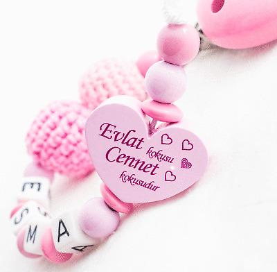 Türkische Schnullerkette mit Namen ♥ Mädchen ♥ Evlat kokusu ♥ Häkelperle ♥Spruch