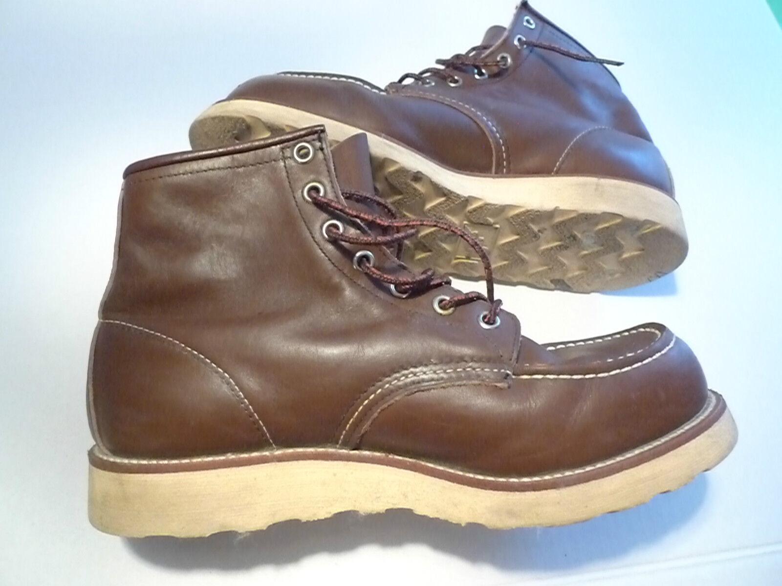 rojo Wing-Moc Toe 6  botas De Cuero-Modelo 17374-Hecho en EE. UU. -- Vintage - 8E