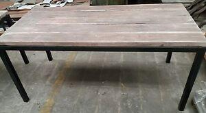 Tavolo in ferro e legno massello 180x80 in stile industriale ...