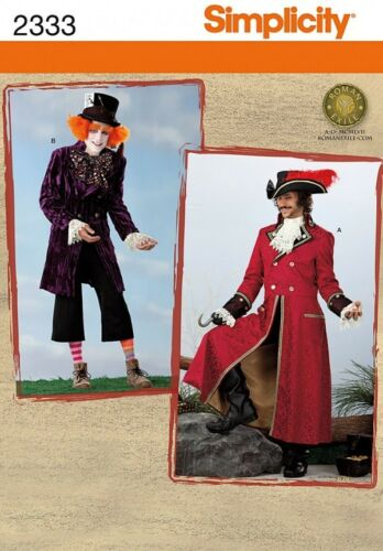 SIMPLICITY SEWING PATTERN 2333 MENS MAD HATTER /& CAPTAIN HOOK COSTUMES XS-S-M