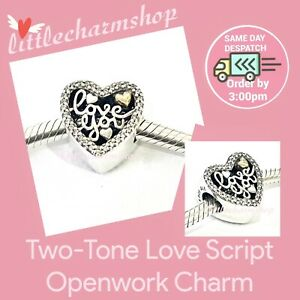 New-Authentic-Genuine-PANDORA-Love-Script-Openwork-Charm-792037CZ-RETIRED
