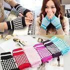 New Warmer Knitting Woolen Mitten Fingerless Crochet Braided Wrist Hand Gloves