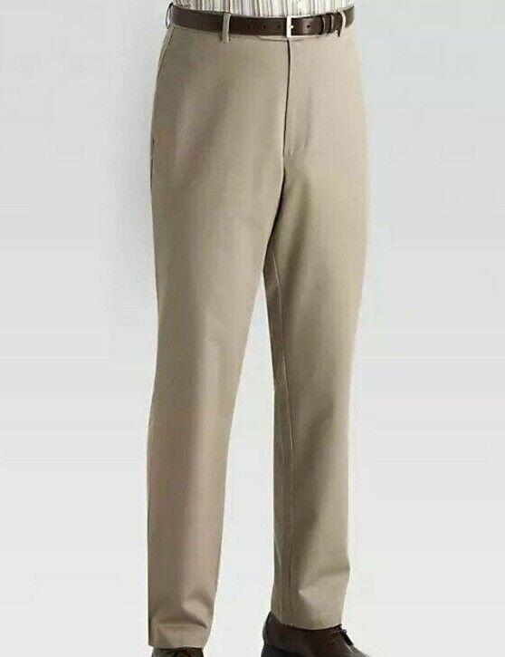 NWT - JOSEPH & FEISS Men's CLASSIC FIT Khaki FLAT FRONT DRESS PANTS - 34 x 30