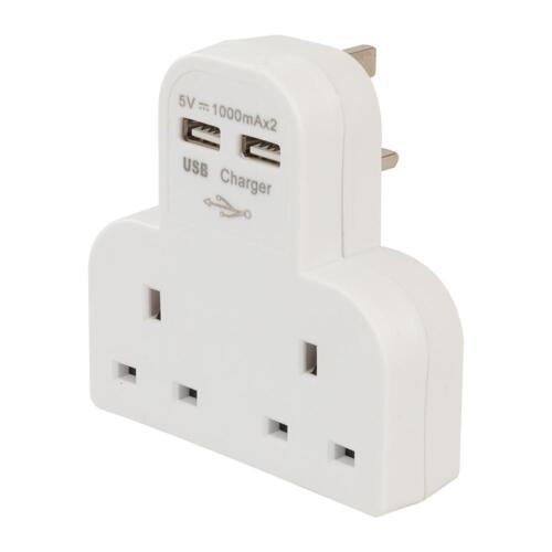 Power Master Double Socket T Adaptateur avec double USB 1000 mA X 2