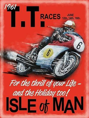 TT Races, Isle of man, 1961 Honda, Mike Hailwood, Mini Metal/Steel Sign, Picture