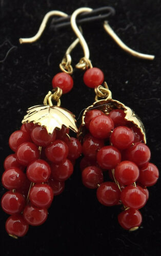 italian-red-coral-erring-solid silver made in italy corail rouge,rough coral