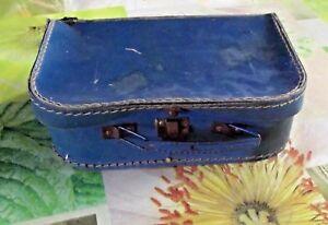 Ancienne-Valise-Coffret-Malle-Vintage-1930-Carton-et-Cuir-Bleu-Sacs-de-Voyage