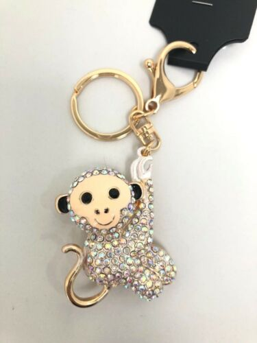 Cute Sloth Diamante Keyring gold metal Rhinestone handbag Charm Bling *NEW*