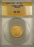 1848-A France 20 Fr Francs Gold Coin ANACS EF 45