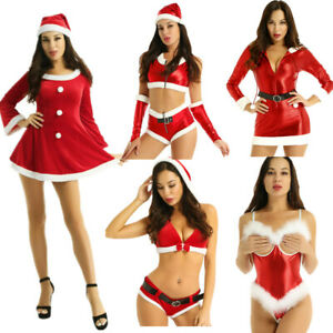 Women-039-s-Christmas-Santa-Claus-Hooded-Crop-Tops-Xmas-Party-Cosplay-Dress-Costume