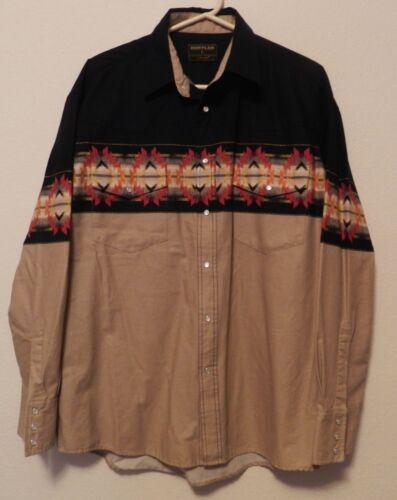 vtg Aztec Western Shirt Rustler Wrangler Pearl Snap mens Large native mint LS