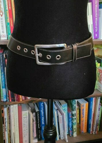 Vintage Women's Express Black Leather Belt Silver