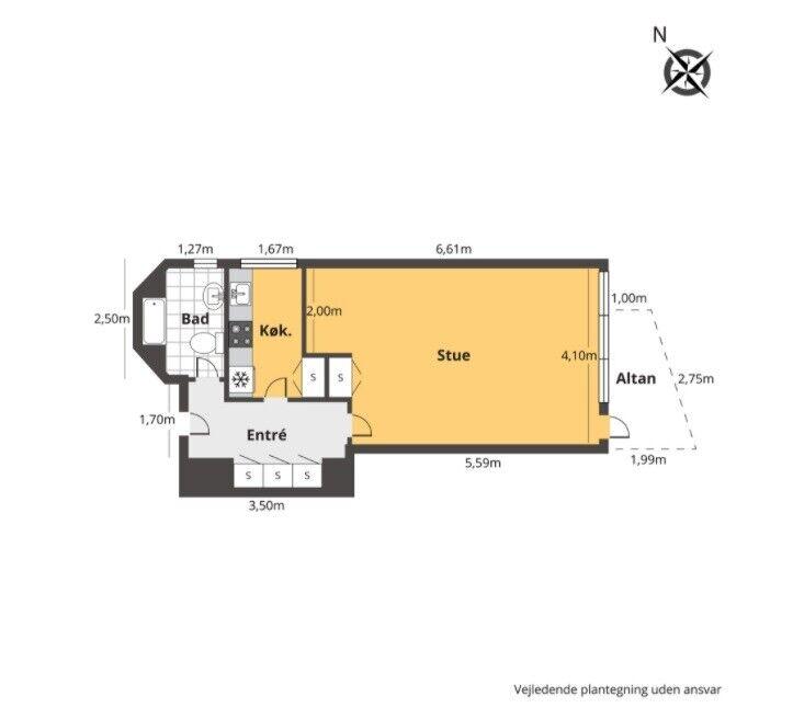 2820 1 vær. andelslejlighed, 54 m2, Ericaparken 47 st
