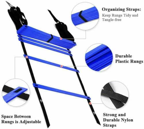 Details about  /Folamer Speed Agility Training Equipment Set — Includes Agility Ladder with Carr