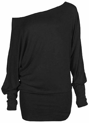 New Ladies Plus Size Long Batwing Sleeve Off Shoulder Baggy Tops 8-34