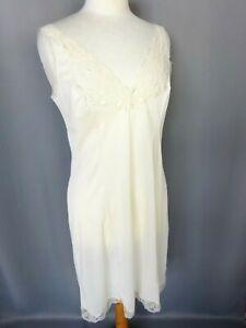 Jolie Nuisette fond de robe dentelle Vintage ivoire Taille L FR44 US12 UK16