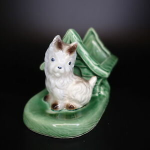 Vintage-Green-Shawnee-Pottery-Green-White-Terrier-Dog-House-Planter-Ceramic-USA